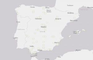 mapa con las zonas restringidas al vuelo fotografico en españa